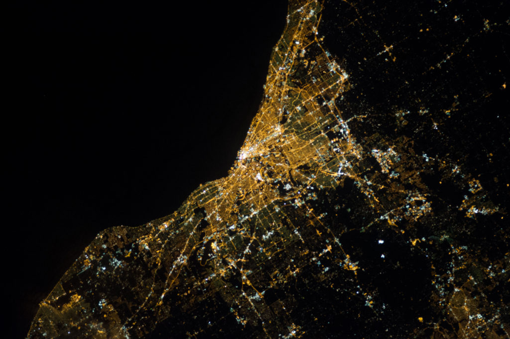 Night view photo of Cleveland from the International Space Station