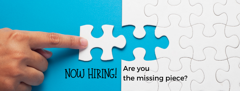 artwork that says now hiring, are you the missing piece?